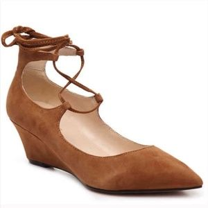 SALE Marc Fisher Willy Brown Suede Wedge Flats